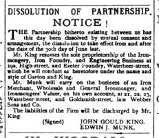 Notice of Dissolution of the King & Munk partnership