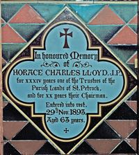Memorial tile for Horace Charles Lloyd JP