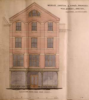Plan for new shop front 1869